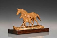 42 cm China Boxwood Masterwork Lucky Animal horse father and son wood sculpture