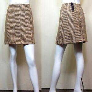 M&S Wool Blend A-LINE Mini SKIRT ~ Size 10 ~ TAN & GREY