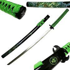 Neon Green SAMURAI Katana ZOMBIE WAR Slayer BIOHAZARD TSUBA Sword Carbon Steel