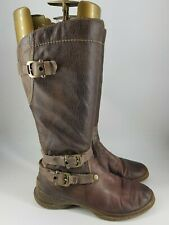 Tamaris size 5 (38) brown leather side zip fleece lined mid calf boots