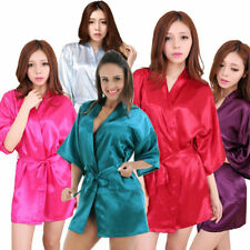Women Plain Satin Robe Dressing Gown Bridal Wedding Bride Kimono robe 2018 new