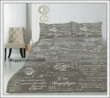 Retro Vintage SCRIPT Grey French Hand Writing * 3pc KING QUILT DOONA COVER SET