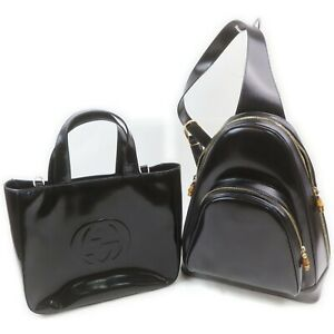 Gucci Enamel Hand Bag Back Pack 2 pieces set 519058