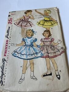Vintage Simplicity Children's Sewing Pattern One Piece Sundress And Pinafore