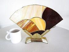 Funky Art Deco 1970s vintage stained glass fan lamp BMI Brass Base Sea Shell