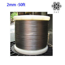 """5/64"""" 316 Stainless Steel Cable Wire Rope Grade 7x7 wire rope  2mm -50ft"""
