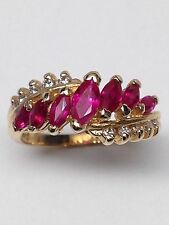 14K Yellow Gold Marquise Shape Chatham Ruby and Natural Diamond Cluster Ring