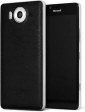 MOZO QI WIRELESS CHARGING LEATHER CASE NFC MICROSOFT LUMIA 950 - BLACK SILVER