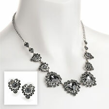 Antique Rhodium Heart Crystal Effect Necklace & Earrings RRP £9.99 - Brand New
