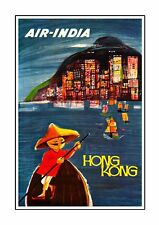 Air India - Hong Kong Vintage Airline Advert Print Old Photo Retro Poster
