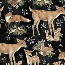 Woodlands Fabric, Deer Bunnies Birds Fox Quilting Sewing, 100% Cotton, Sold BTHY