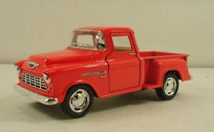 """New 5"""" Kinsmart 1955 Chevy Stepside 3100 Pick Up Truck Diecast Model 1:32 Orange"""
