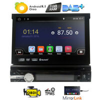 "Single 1 DIN 7"" Android 8.1HD Flip Up GPS Navigation Car Stereo CD DVD Radio DAB"