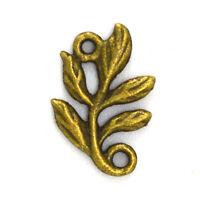 50pcs 10x15mm Antique Bronze Lovely Branch Leaf Connector Link Charm Pendant