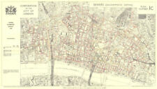 CITY OF LONDON. Town planning survey 1944. SEWERS 1944 old vintage map chart