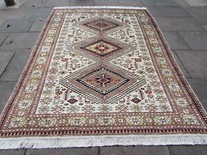 Vintage Worn Traditional Hand Made Oriental Turkish White Wool Carpet 297x215cm