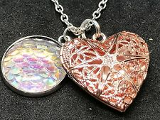 "Heart Copper & Rainbow Fish Scale Charm Tibetan Silver 18"" Necklace D540"