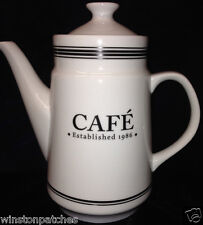 POTTERY BARN CAFE COLLECTION COFFEE POT & LID 50 OZ WHITE WITH BLACK BANDS