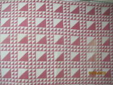 Antique 1880's Quilt Cinnamon Pink Lady of the Lake brown/white shirting print b