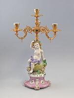 Porzellan Barock Leuchter Kerzenständer Bacchus prunkvoll neu 9987245