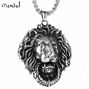 MENDEL Mens Large Lion Head Pendant Necklace Chain Stainless Steel Black Silver