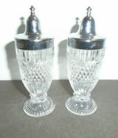 VINTAGE CUT GLASS SCREW TOP SALT AND PEPPER SHAKERS SET 4.5""