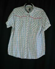 Bit and Bridle Western Pearl Snap Puff Sleeve Plaid Blouse Shirt Top Women's XL