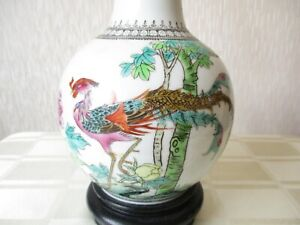 VINTAGE CHINESE PORCELAIN PEACOCK TABLE LAMP WITH VINTAGE SHADE