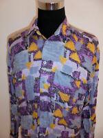 vintage 80`s Hemd crazy pattern viskose shirt 80er Langarm Herren oldschool XL