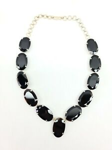"""ANTIQUE STERLING SILVER NECKLACE OVAL CUT BLACK OBSIDIAN SET IN SILVER 16"""""""