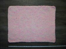 "Handmade Knit Acrylic Baby Girl Rug Mat Pink & Yellow 18 x 24"""