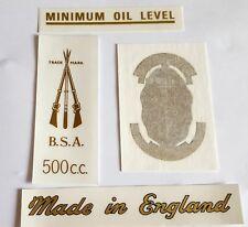 BSA A7 TRANSFERS REAR NO PLATE 500cc MINIMUM OIL TOOLBOX GARTER MADE IN ENGLAND