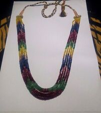 5 Strands Natural Ruby Emerald And Sapphire Gem Stone Beads Necklace Jewelery