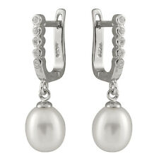 Sterling silver rhodium plated dangling earrings 7-8mm freshwater pearl ESR-196