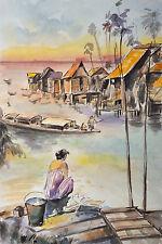 "16"" ORIGINAL WATERCOLOR PAINTING: FISHING VILLAGE ON RIVER MEIKUNG OF VIETNAM"