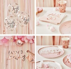 Rose Gold 18th 21st 30th 40th 50th Birthday Party Napkins Tableware Decorations