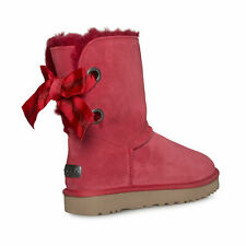 UGG CUSTOMIZABLE BAILEY BOW SHORT RIBBON RED SUEDE WOMEN'S BOOTS SIZE US 10 NEW