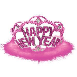 Happy New Year Pink Marabou Tiara