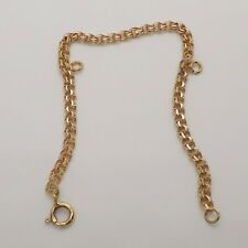 18k Gold Double Wire Charm Bracelet with 2 Rings 6.75""