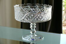 FINEST 24% LEAD CRYSTAL LARGE PEDESTAL BOWL/ FRUIT BISQUITS VASE, HAND CUT