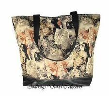 Kittens & Kitty Cats Tapestry Style Tote Bag Large Purse w/ faux black leather