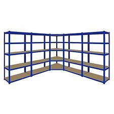 1 x Corner Racking Garage Shelving 4 x 90cm Bays Metal Heavy Duty MDF Shelves