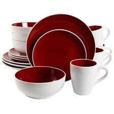 16 PIECE GIBSON CHICSTONE ROUND DISH DINNERWARE SET SERVICE for 4 RED and WHITE