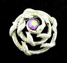RED BLUE Aurora Borealis Rhinestone PIN Vintage Brooch Goldtone AB Spiral Vine