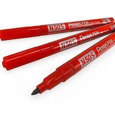 Pentel N50S Fine Permanent Marker – 3.18mm Bullet Tip – Pack of 3 – Red