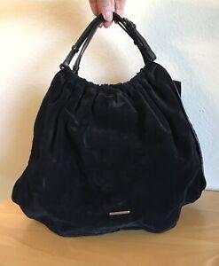 Gucci Black Suede Hobo Handbag Small Leather Soft Satchel Evening Bag