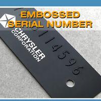 CHRYSLER GM DATA PLATE & EMBOSSED STAMPED NUMBER CAR ID VIN TRUCK TAG FRAME