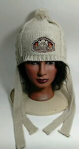 Amsterdam Beige Knit Cap Winter Travel Snow Ski Hat Pom Pom Tassels Beanie OS