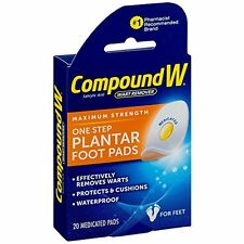 2 pack - Compound W One Step Plantar Foot Pads, Effectively Remove Warts 20 Each
