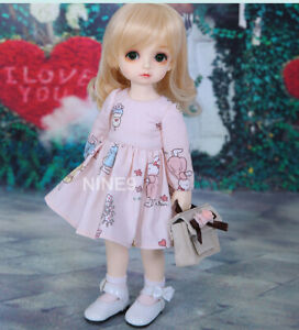 New Pink Dress clothes Hair shoes For 1/6 BJD Doll Pio